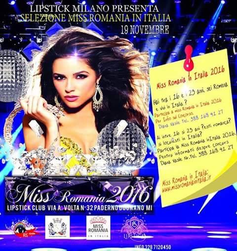 Fashion Uncategorized @ro  Miss România în Italia 2016: selecții la Milano pe 19 noiembrie. Vino și tu!