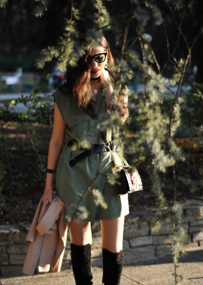 MY OUTFIT  Ținută de primavară: Rochia cămașă verde militar